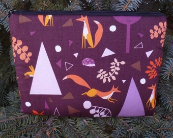 Padded case for Kindle 3rd Gen Fire and Touch, Nook 2nd Gen, Galaxy Tab, optional shoulder strap or wristlet, foxy forest, The Elm