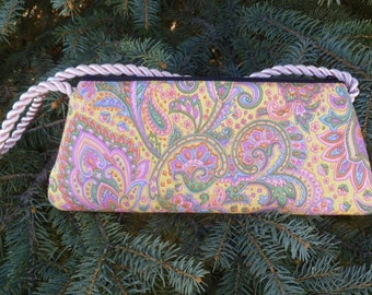 Indian paisley clutch evening bag, small  shoulder bag or wristlet, The Bebe-CLEARANCE