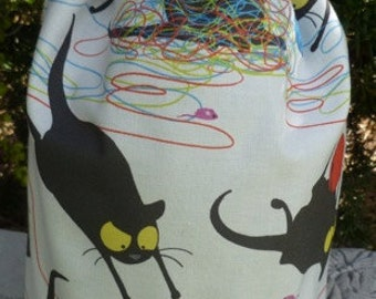 Cat knitting project bag,  drawstring bag, WIP bag, happy kitty, Suebee