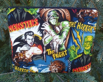 Galaxy Tab 10 1 sleeve, larger tablets and netbooks, with optional shoulder strap or wristlet, movie monsters, The Boc