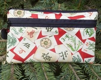 Mahjong tiles mini wallet, purse organizer, wristlet, Pick from 5 fabrics, Sweet Pea