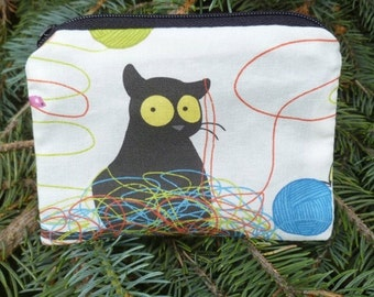 Cat coin purse, stitch marker pouch, gift card pouch, happy kitty, The Raven