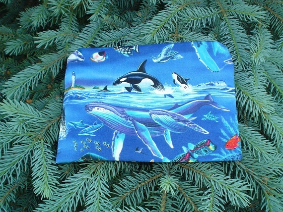 whales zippered bag, makeup case, accessory bag, The Scooter