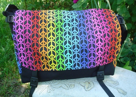 Peace Sign Messenger Bag, Diaper Bag, Project Bag We Want Peace Lynx Deluxe