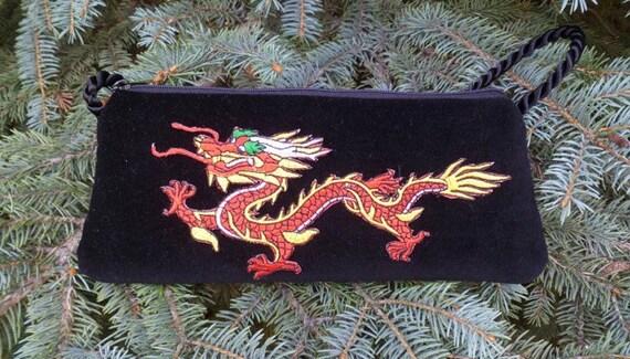 Red dragon evening bag, small shoulder bag, clutch or wristlet,  The Bebe