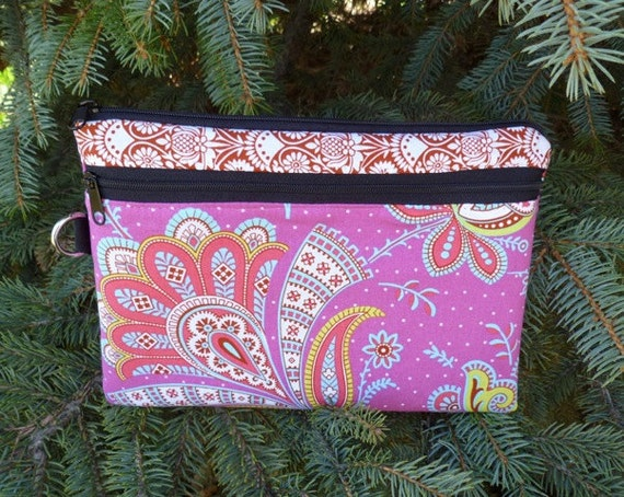 Indian knitting notions case, large clutch wristlet, diabetic supply case, Sari Blossoms, The Morning Glory