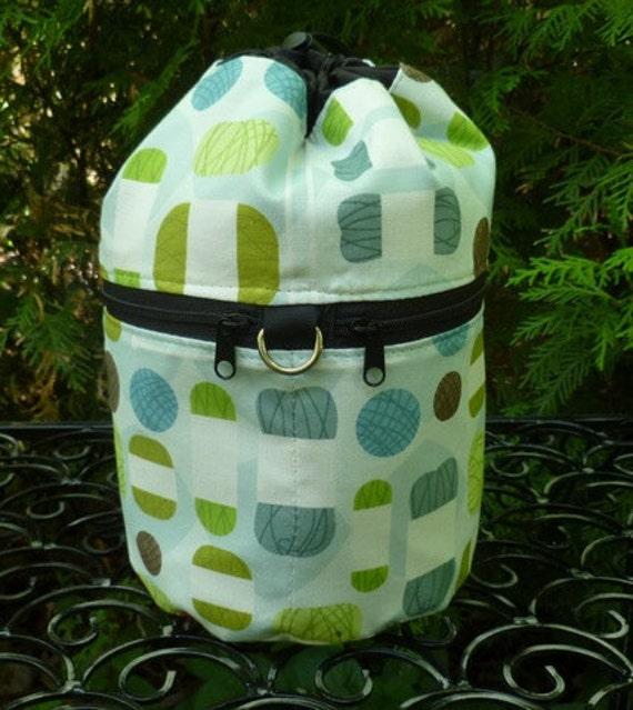 Knitting bag, drawstring bag, wip bag, knitting in public bag, mod yarn, small project bag, Kipster