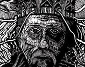 Awaiting Judgement-Original Ross Zirkle Hand Pulled Relief Print