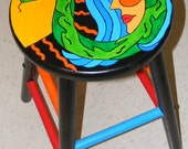 Original handpainted pop art wooden stool