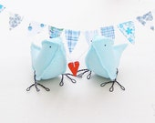 Irish Linen Blue Love Birds carrying a red heart........i carry your heart with me