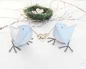 Blue Cotton Fabric Birds  - Custom Order 2 Birds  - with Personalised love heart - MADE TO ORDER- Ready to ship 2 weeks after purchase
