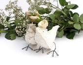 Wedding Cake Topper-Linen and Ivory Cotton