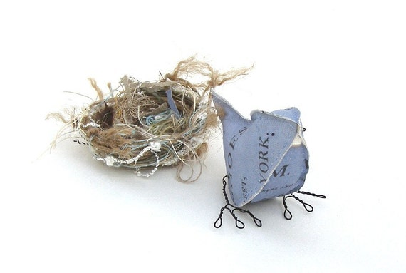 Paper Bird Mixed Media Sculpture