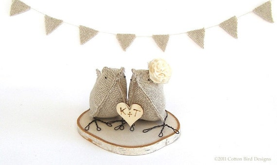 Burlap Fabric Birds - Custom Order 2 Birds - with Personalised love heart and wood log base - MADE TO ORDER- Ready to ship 2 weeks after purchase