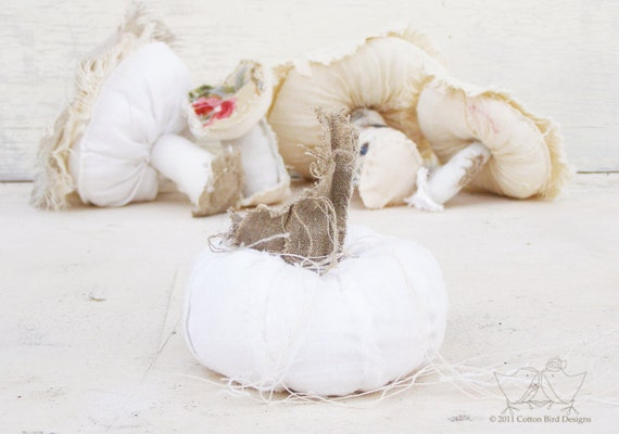 Autumn Decor Holiday Pumpkin Country Snow White Winter Pumpkin Home Decor Textile Art Soft Sculpture