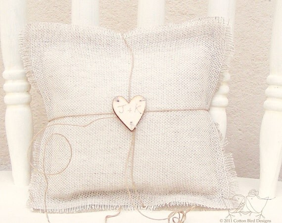 Burlap Wedding Ring Pillow Personalise with your Initials