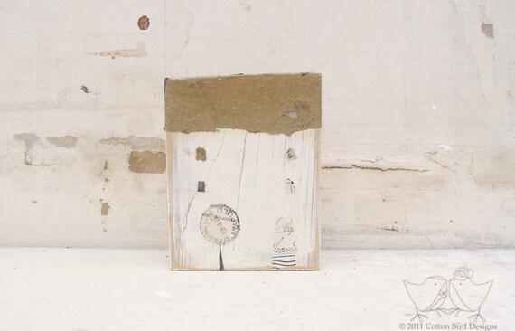 Wood House Vanilla Cream  Mixed Media Sculpture Reclaimed Wood Building