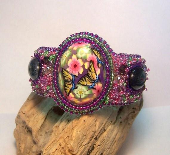 Butterfly flower garden bead embroidered cuff bracelet featuring Artisan focal cabochon