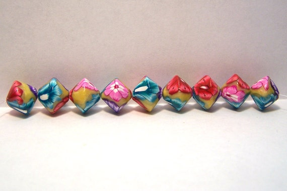 Handmade 10 mm. bi-cone beads set of 8 floral pattern