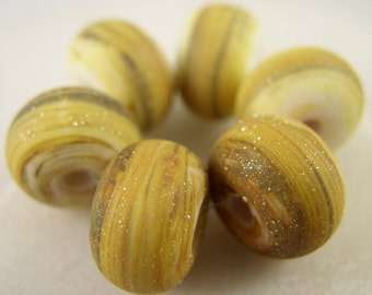 Light Sandstone - Lampwork Beads(6) - Libelula Designs, SRA