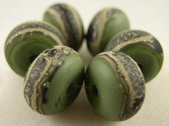 Organic Mesh - Olive - Lampwork Beads (6) - Libelula Designs, SRA