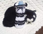 Hand Crocheted Baby Bottle Cover in White and Black for that great baby shower