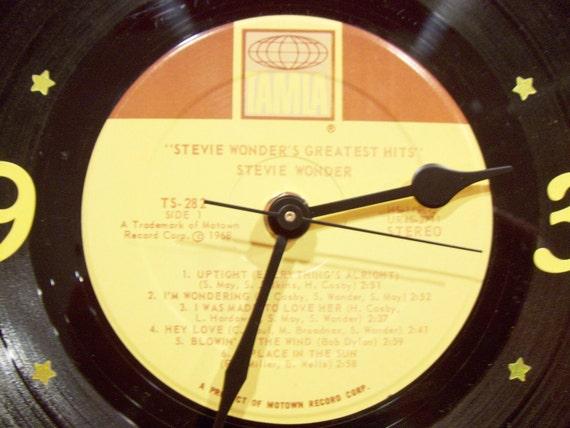 Vinyl Record Album Wall Clock - STEVIE WONDER - Upcycled