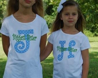Monogrammed Initial Big sister Little Sister shirt Custom Boutique