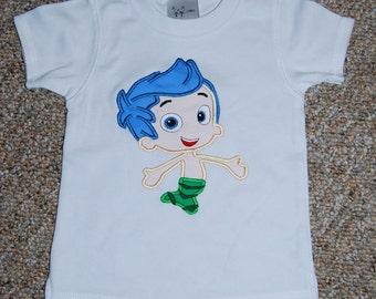 Bubble Fish Mermaid  M2M Applique  Shirt Gil  custom Boutique size 12m 2 3 4 5 6 7 8 9 10