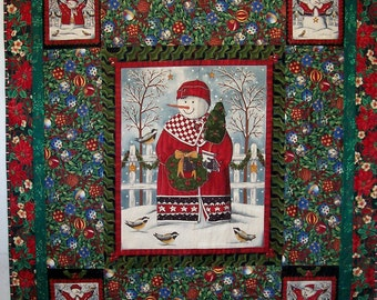Snowman Christmas Patchwork Quilt, Embellished