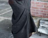 sculptura fantastica: hand-sculpted black linen dress