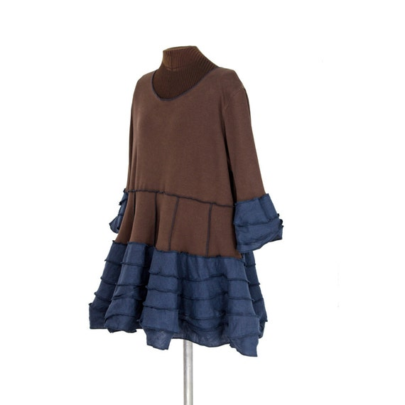 SALE clampdownis puufuppia: linen lagenlook plus size tunic in navy blue, brown