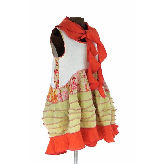 sistercurtaingarden dress, linen, with matching scarf