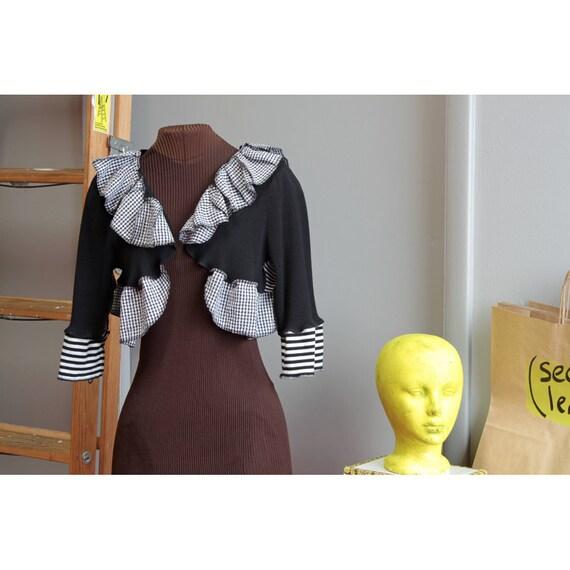 black, white, striped and seersucker shrug, deconstructed.