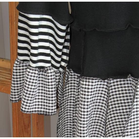 stormpicnic: black, white striped reconstructed tunic w/ seersucker