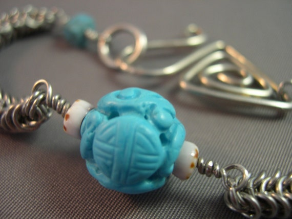 Turquoise Fusion Bracelet - Box Snake Chain, Forged Clasp, Chalk Turquoise, Shells