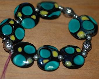 Lampwork Multi Green Pressed Bracelet