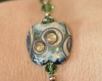 Lampwork and Swarovski Bracelet