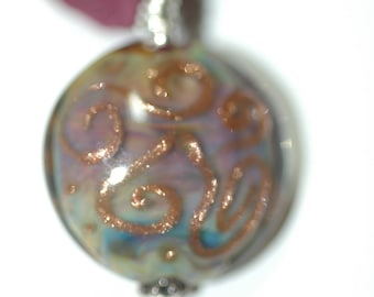 Elegant Lampwork Pendant on a Silk Ribbon