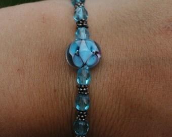 Turquoise Glass Flower Bracelet