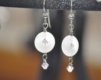 Pink Quartz and Swarovski Crystal Dangle Earrings