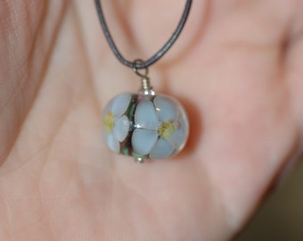 Lampwork Floral on Long Leather Cord
