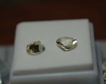 Pair of 3 Carat Oval Yellow Labradorite Gems