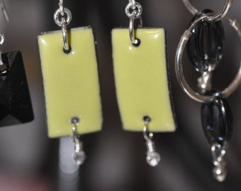 Lime Green Ceramic Dangle Earrings