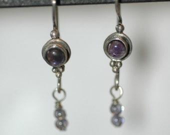 Bezel set Amethyst Earrings with bead dangles