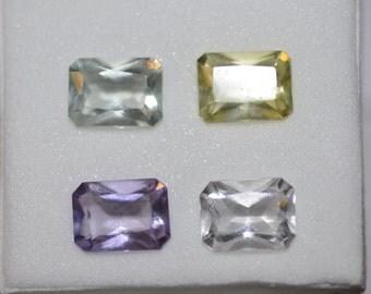 Set of 4 Radiant Emerald Cut Quartz 8x6 mm