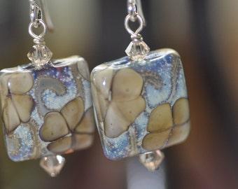 Khaki and Blue Lampwork Flower Earrings