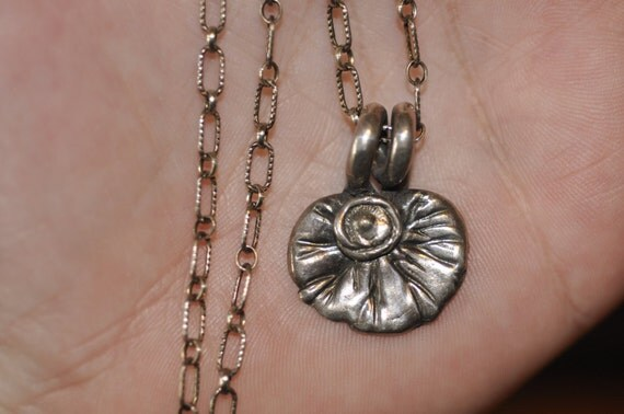 Lilly Pad Pendant - .999 Fine Silver PMC Pendant on Sterling Silver Oxidized Chain