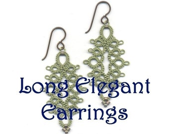Original Tatting Pattern - Long Elegant Earrings