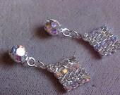 New from OLD stock vintage AB rhinestone pierced earrings bridal VE 519